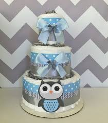 Diaper Cake Decorations For Baby Shower Deluxe Owl Diaper Cake In Blue And Gray Owl Baby Shower