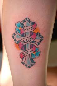 color cross flowers tattoo design ideas great tattoo ideas and tips