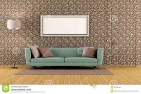Vintage Living Room by Living Room With Vintage Wallpaper Royalty Free Stock Photo