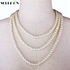 pearl necklace strand images Multi pearl necklace long strand chain simulated 8mm round plastic jpg