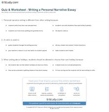 Example Of An Narrative Essay Quiz U0026 Worksheet Writing A Personal Narrative Essay Study Com