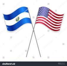 Salvadoran Flag Salvadoran American Crossed Flags El Salvador Stock Vector