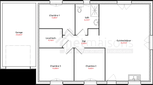 plan de maison de plain pied 3 chambres plan de maison traditionnelle gratuit plain pied 3 90m2 chambres