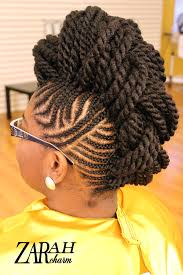 cornrow mohawk pinned up by stylist zarah charm natural hair