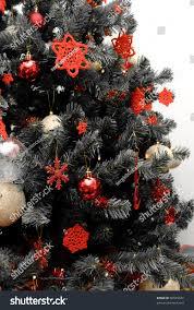 christmas tree black white red decorations stock photo 90525076