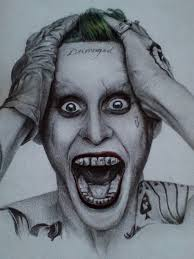 pencil portrait of the joker from squad by wstanganini on