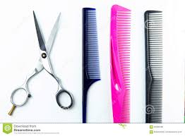 hair cutting scissors and comb for hairdressers stock photo