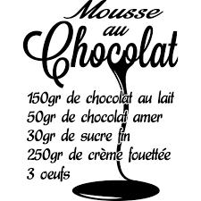 stickers recette cuisine stickers recette mousse au chocolat 2 pas cher