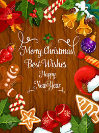 merry greeting card new year best wishes poster with