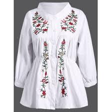 elastic waist blouse white stand collar plant embroidery elastic waist blouse 3xl 19 8