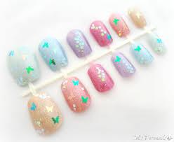 spring nail art set glitter butterflies false nails celdeconail