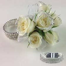 corsage wristlet white wristlet with glitter corsage in tillamook or