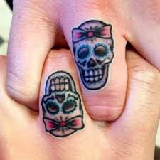 matching sugar skull finger tattoos clear custom yelp