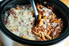 easy crockpot baked ziti build your bite