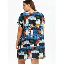 blue one size plus size colored plaid t shirt dress with pockets