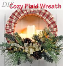 how to diy a super cozy candle lit plaid flannel wreath crafts