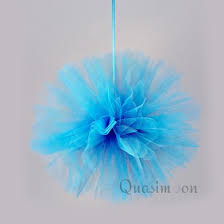 teal tulle 10 turquoise tulle fabric pom poms flowers balls decorations 4
