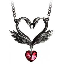 heart drop necklace images Black swan heart necklace with crystal drop gothic jewelry jpeg