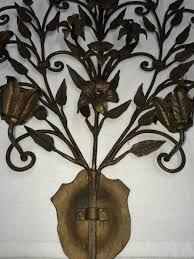 pair of hand wrought iron floral wall sconces for sale at 1stdibs