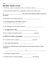 How The Earth Was Made Worksheet Answers Bill Nye Earth S Crust Worksheet By Jjms Teachers Pay Teachers