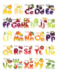 vegetables and fruits alphabet calligraphy decor wall art