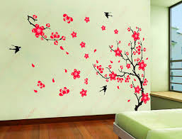 can t wait to add this to my hallway walls leading into zephy s wall stickers decor yyone plum blossom red flowers tree branch swallows art wall mural home decor wall sticker