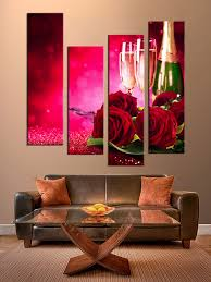 Rose Home Decor by 4 Piece Canvas Photography Red Huge Canvas Print Red Rose Multi