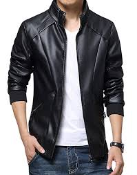 jacket price kiwen s stand up collar faux leather jacket slim fit at amazon