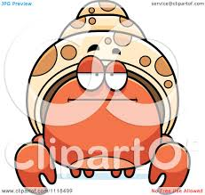 cartoon of a bored hermit crab royalty free vector clipart by