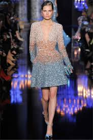 china blue brown short evening party gown elie saab long sleeves