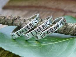 mothers rings stackable engraved stackable rings name rings personalized rings 25 00 via etsy