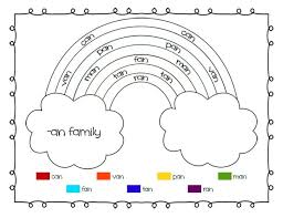 rainbow word families printable worksheets