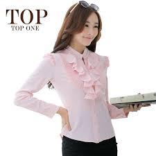 2017 elegant long sleeve ruffle blouse women 2015 autumn new