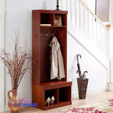 Entryway Hall Tree entryway wooden hall tree shoe storage bench coat rack metal hooks
