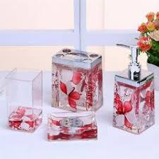 acrylic flower bathroom washing set 4pcs bathroom accessories kit