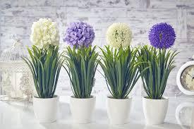 artificial garlic flowers plants in pot home decor garden white