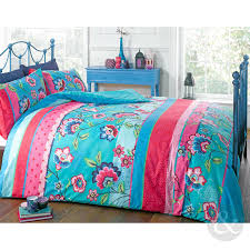 retro oriental duvet cover floral reversible teal blue u0026 pink