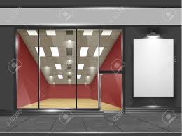 doors with glass windows shop with glass windows and doors front view part of set vector