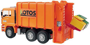 bruder toys bruder toys 02762 man rear loading garbage truck orange bruder