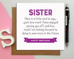 funny birthday card for sister from brother naughty rude p