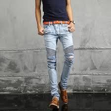 mens light blue jeans skinny men denim light blue jeans casual slim european biker fold holes