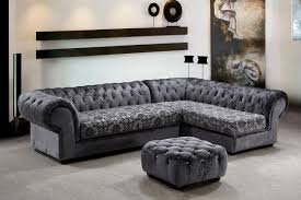 Traditional Fabric Sofas Metropolitan 3 Piece Fabric Sectional Sofa U0026 Ottoman With Crystals
