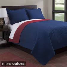 Blue Quilted Coverlet Windsor Home Vivian Embroidered 3 Piece Quilt Set Barneystock