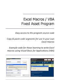 excel macros vba fixed asset program visual basic for