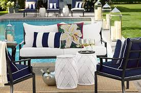 pottery barn for less navy conversation patio set