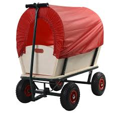 Rugged Stroller Kids Outdoor Cart Wagon Stroller With Red Cover Wagons Riding