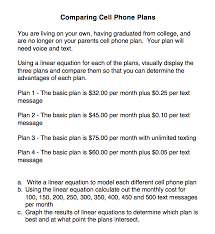 choosing a cell phone plan using linear equations perkins elearning