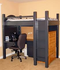 Bed And Computer Desk Combo Compact Black Loft Bed For Boys With Workspace And Storage