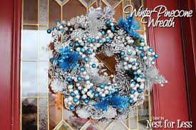 pinecone wreath winter silver blue pinecone wreath how to nest for less
