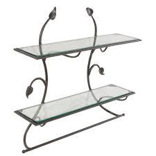 wrought iron leaf wall shelf u0026 towel bar